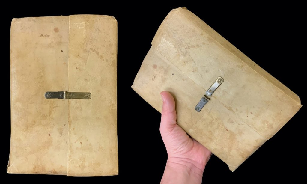 """Image of the parchment binding of MS C91, the front cover of which contains an older shelfmark of the library of the Charterhouse of St Barbara in Cologne: """"G.xlii."""""""