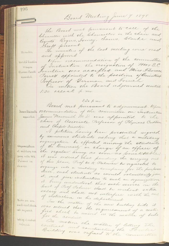 Photograph of the Kansas Board of Regents meeting minutes, June 7, 1898