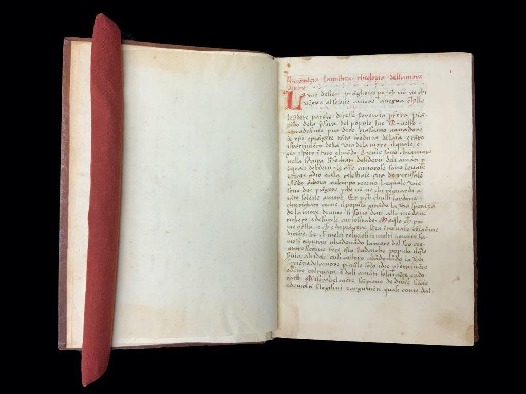 Image of the beginning of Hugh of Balma's De theologia mystica in Italian on folio 1r. Venice, Italy, 1500. Call # MS C66.