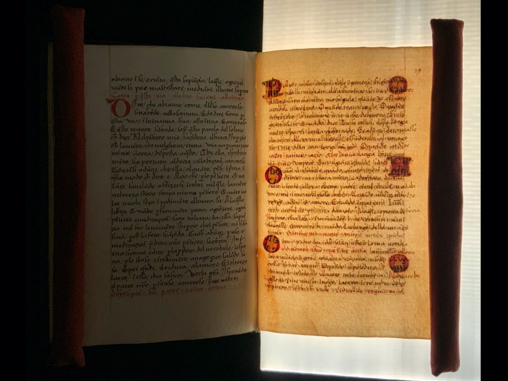 Image of the text visible on the verso of the pasted in initials under transmitted light, in in Hugh of Balma's De theologia mystica in Italian (MS C66)