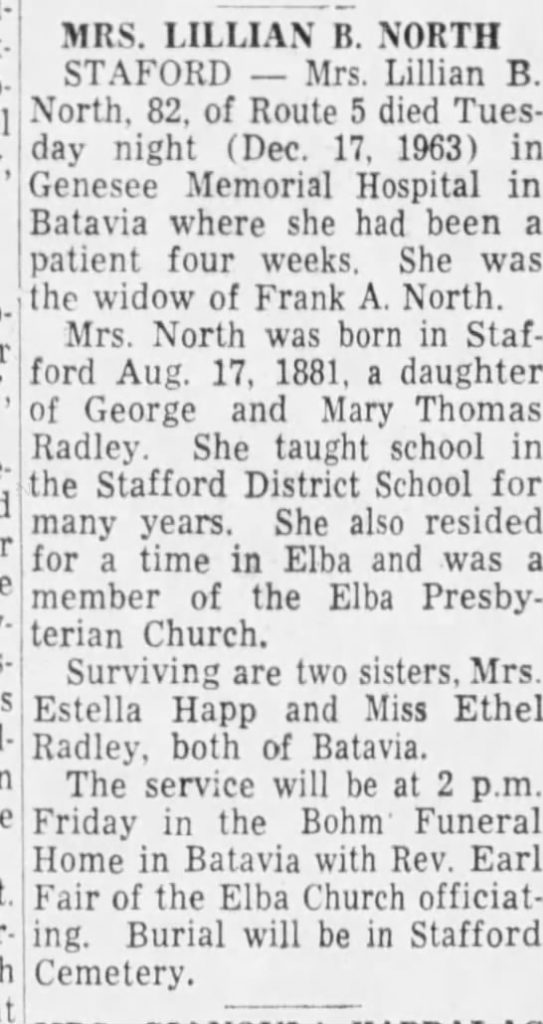 Photograph of Lillian North's obituary in the Democrat and Chronicle (Rochester, New York), December 19, 1963.
