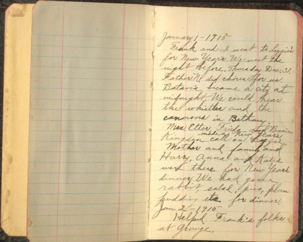 Photograph of the first page of Lillian North's diary with entries from January 1 and 2, 1915.
