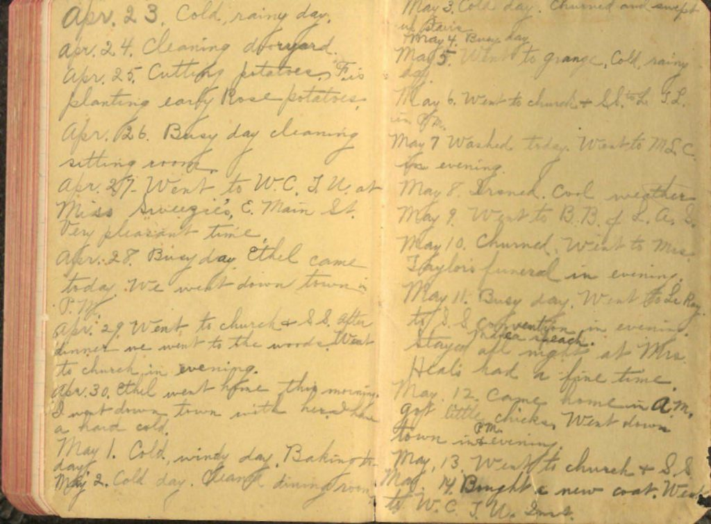 Photograph of the last page of Lillian North's diary, 1917.