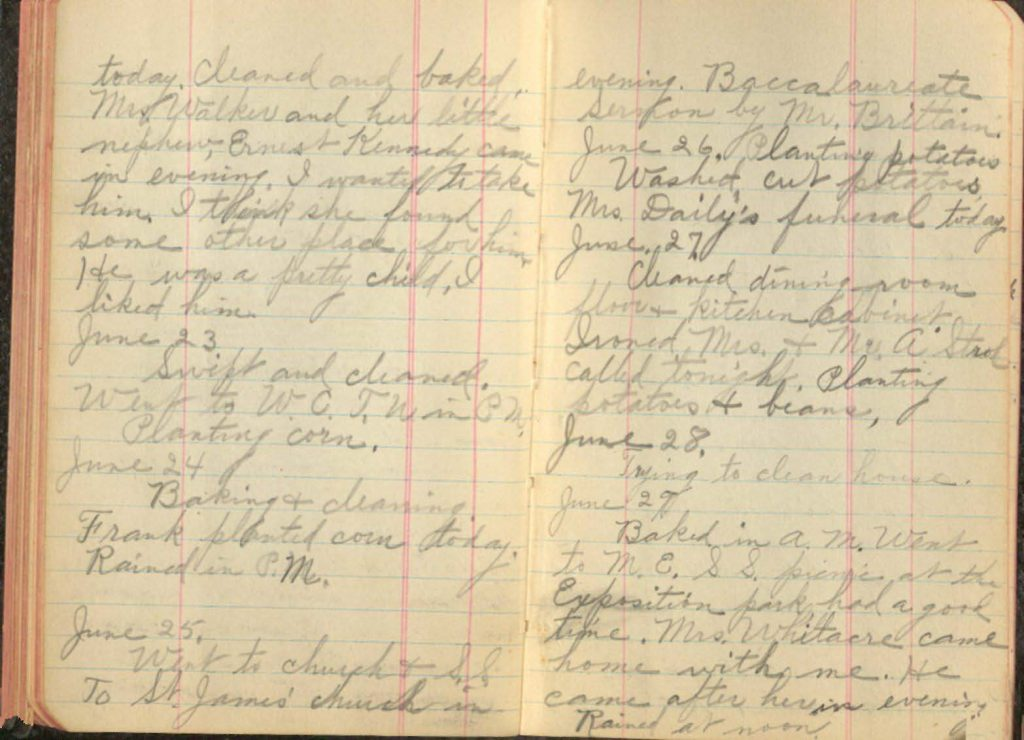 Photograph of entries in Lillian North's diary from June 23, 25, and 27, 1916.