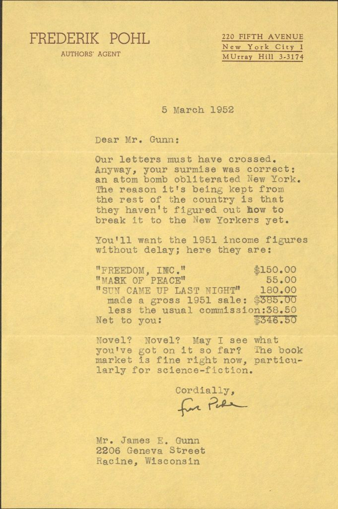 Photograph of letter from Frederik Pohl to James Gunn, reporting on Gunn's early story sales, 5 March 1952
