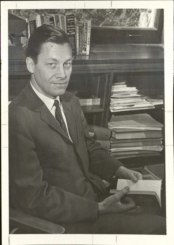 Photograph of James E. Gunn during the 1960s while working for KU's Chancellor's Office