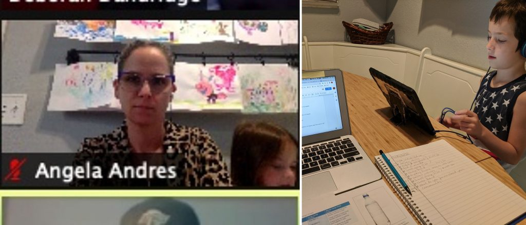 A split-screen image showing a screenshot of a Zoom call on the left, with a small child visible in the window next to the author, and a kitchen table at the right, with a school-age child working on an iPad next to the author's laptop and notebook.