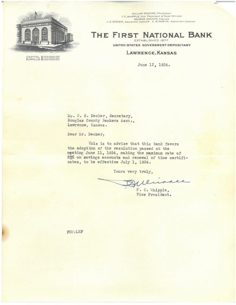 Short typed letter with First National Bank letterhead.