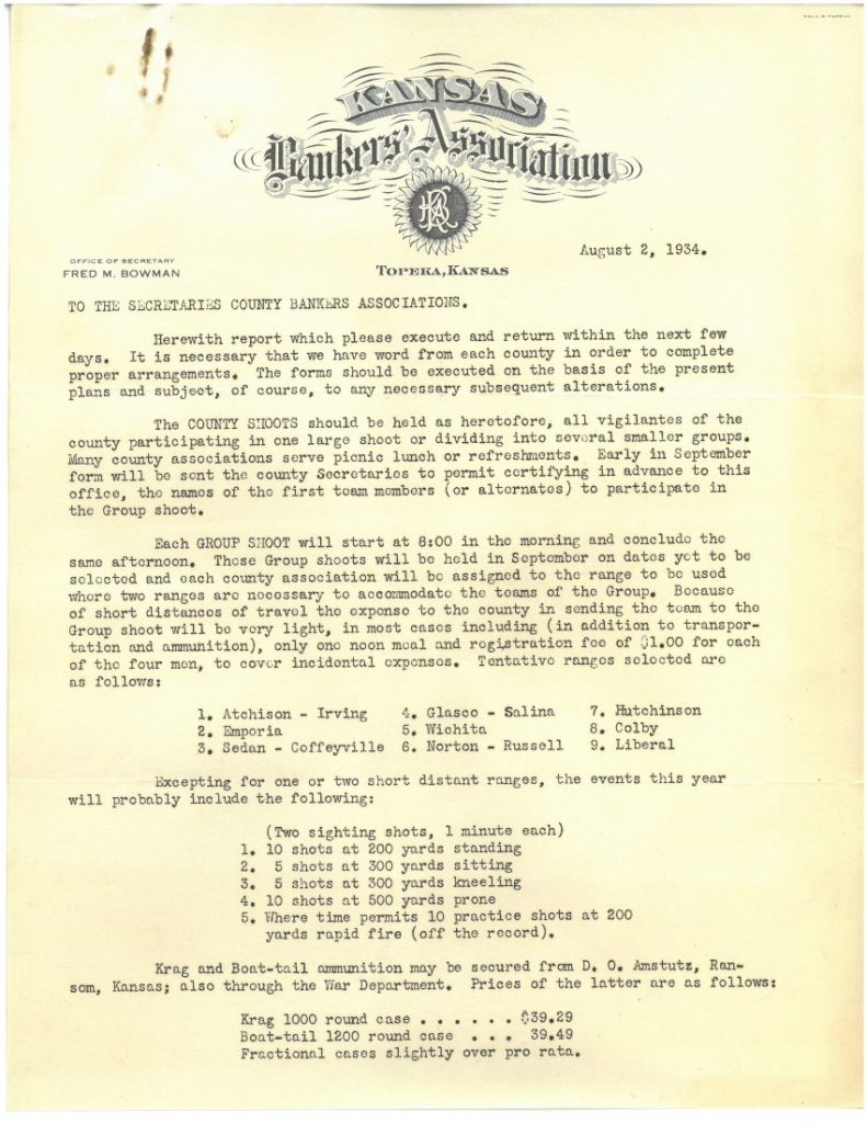 Full-page typed letter with Kansas Bankers Association letterhead.