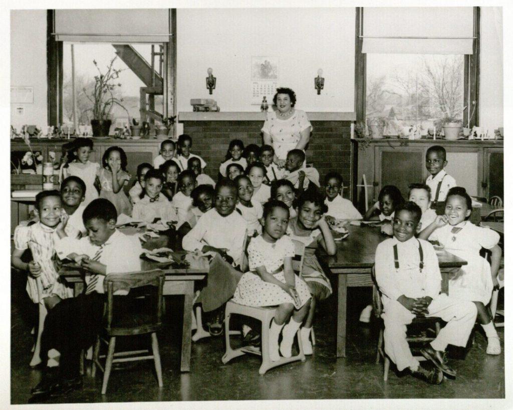 Photograph of Ms. Lois Abbott's kindergarten class at the Washington School in Topeka, Kansas, 1955