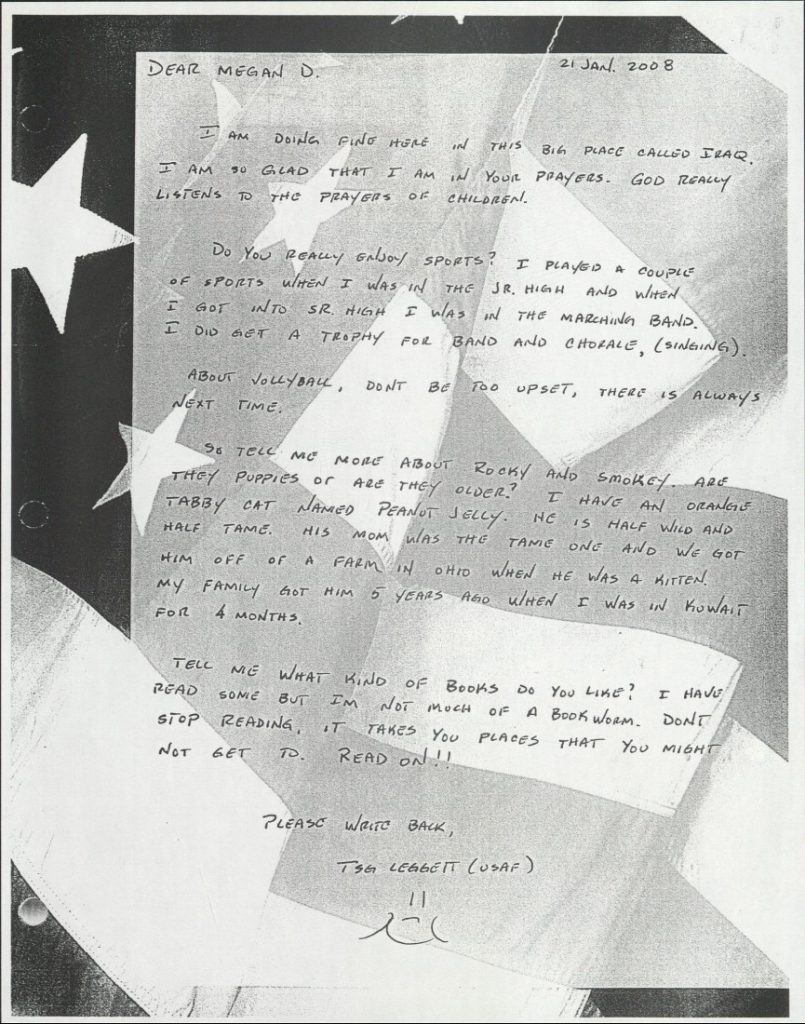Black-and-white scan of a handwritten letter. The paper's background is an American flag.